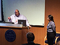 Prof. Squire Booker answers questions after his seminar