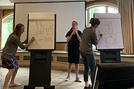 TPCB students play science pictionary at the 2019 Retreat